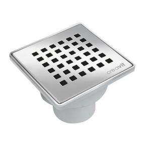 Creavit Vloersifon In PVC Met Inox Rooster Uitgang Verticaal 15x15 cm Ø50 mm