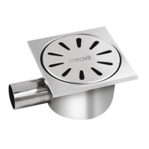 Creavit Vloersifon Uitgang Horizontaal Volledig In RVS 15x15 cm Ø50 mm